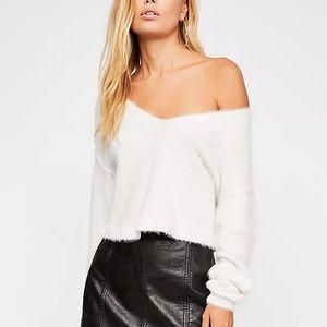 Free People Princess V-neck Sweater Bright White Size Medium